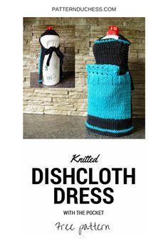 Knitted dishcloth dress or apron free knitting pattern from patternduchess.com