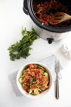 Crockpot cauliflower bolognese with zucchini noodles from Inspiralized  #glutenfree  #vegan