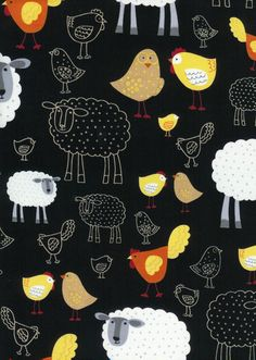 Timeless Treasures Fabric- Farm and Country Collection - Chicks and Sheep- Black. $8.00, via Etsy.