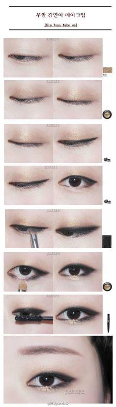 korean kim yuna monolid makeup