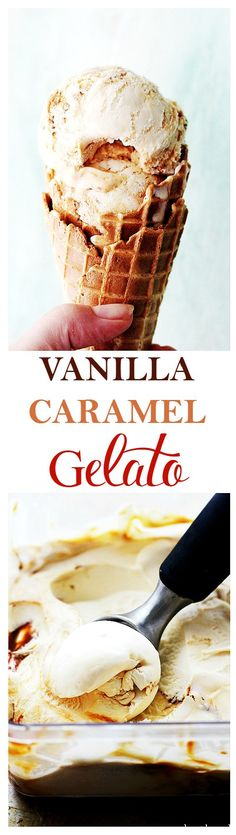 Vanilla Caramel Gelato - Creamy, cold, sweet and delicious, this Gelato is beyond PERFECT! Ice Cream Treats, Ice Cream Desserts, Frozen Desserts, Summer Desserts, Sweet Desserts, Ice Cream Recipes, Frozen Treats, Just Desserts, Delicious Desserts