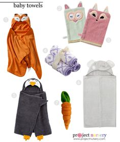 {Project Nursery Picks} Hooded Baby Towels and Cute Bath Mitts #babygear #babygift