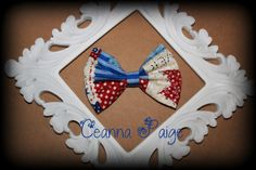 Patchwork bow cute country print bow Patriotic bow  by CeannaPaige