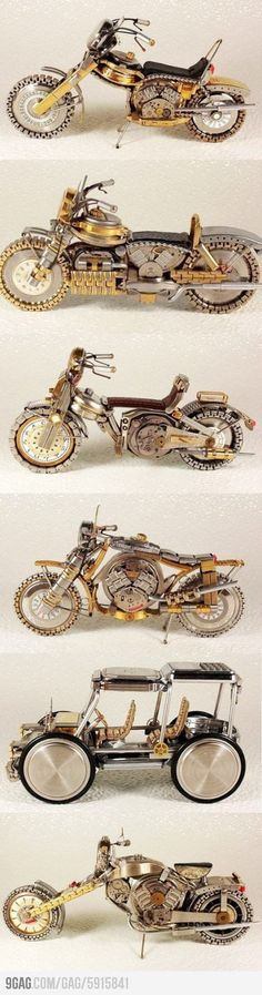 Motorcycle mad of waste watches