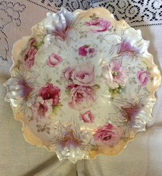 Magnificent RS Prussia Tiffany Glazed Floral Design Bowl!!!
