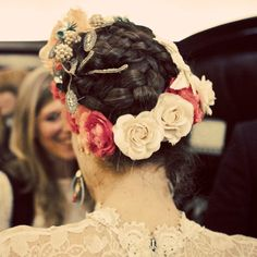 We love this Frida Kahlo inspired floral crown in lieu of a traditional wedding veil.