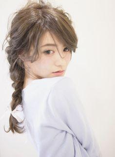 ルーズ×編み込みダウンアレンジ (髪型ロング)