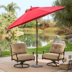 Outdoor 9 Ft Tilt Patio Umbrella With Antique Bronze Pole And Red Canopy