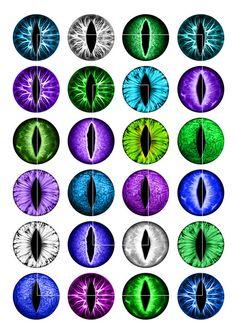 Images de cercle les yeux de Dragon imprimable pour capsules de bouteilles, Scrapbooking, pendentifs, boutons de manchette, pendentifs en verre de la fente.  ■ Vous recevrez ces Images de cercle en 20 mm, 25 mm, 1 pouce et 1,5 pouce, chaque taille sur une feuille de collage distincts.