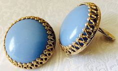 Vintage Thermoset Plastic Clip On Earrings Sky Blue Button Style Gold Tone VGC #ClipOn