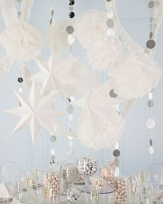 Paper Party, make it sparkle using silver garland. It's cost effective and really makes a big show plus you can do it yourself.  Sunshine:-)