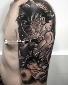 The biggest gallery of Dragon Ball Z tattoos and sleeves, with a great character selection from Goku to Shenron and even the Dragon Balls themselves. Z Tattoo, Chest Tattoo, Body Art Tattoos, Sleeve Tattoos, Cool Tattoos, Tatoos, Tatuajes Tattoos, Awesome Tattoos, Tatoo Manga