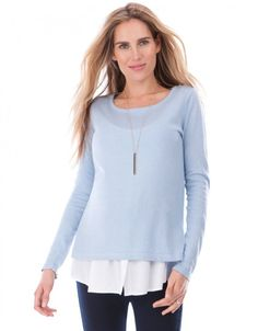 Sky Blue 2 in 1 Maternity & Nursing Jumper