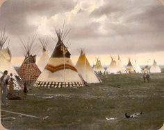 Teepees in Blackfoot/Siksika camp. Montana. Early 1900s.
