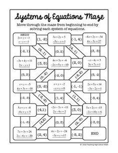 Algebra Digital Interactive Math Solving Systems of Equations Maze Algebra Games, Algebra Worksheets, Algebra Activities, High School Activities, Teaching Math, Math Resources, Systems Of Equations, Solving Equations, 8th Grade Math