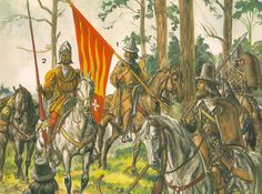 Estradiotes - mercenary light cavalry.  A Moorish/Spanish estradiote of 1495.  A Huguenot estradiote of 1570 with a captured banner and two Croat/Albanian estradiotes in the service of King Charles VIII of France.