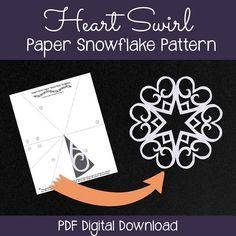 Paper snowflake pattern - hearts & swirls! #snowflakes #printables #DIY #papersnowflakes #paperart #papercrafts #papersnowflake #artsncrafts #letitsnow #snow #christmas #christmas2015