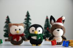 Needle Felted Christmas Penguin Ornament $17 each