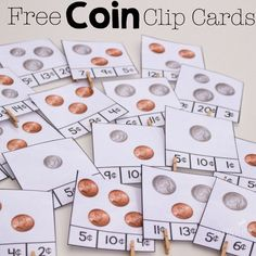 Free counting money clip cards for coins and great book suggestions for learning about money! A wonderful resource for kindergarten.