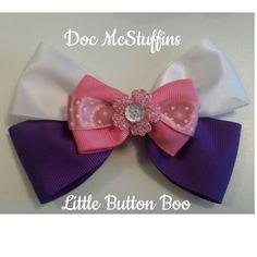 Doc McStuffins inspired hair bow www.littlebuttonboo.co.uk