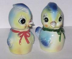 Vintage 1950s 60s Blue Bird S Salt Pepper Shakers Japan Commodore