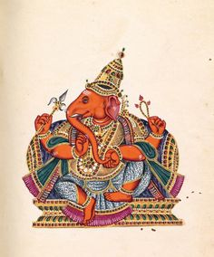 1 Tamil Ganesha illustration no. 97 in Album of Hindu deities Tamil Nadu, India opaque watercolour on paper x cm (page) National Gallery of Victoria, Melbourne Purchased with funds donated by Westpac Banking Corporation, 2009 Mysore Painting, Kalamkari Painting, Tanjore Painting, Silk Painting, Lord Ganesha Paintings, Lord Shiva Painting, Ganesha Art, Sri Ganesh, Indian Traditional Paintings