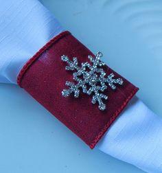 RED GLITTERY CHRISTMAS Napkin Rings w Rhinestone Snowflake Red Napkin Holder, 25 Christmas Napkin Rings Wedding Table Decor, Reception Decor by ModernClassicbyCarol on Etsy