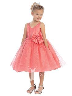 watermelon knee length ball gown v-neck sleeveless bow sequin flower girl dress