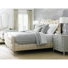 Interior HomeScapes offers the Tufted Upholstered Bed - King by Caracole. Visit our online store to order your Caracole products today. Guest Bedroom Decor, Bedroom Bed, Bedroom Furniture, Furniture Design, Master Bedroom, Bedroom Ideas, Kids Bedroom, Caracole Furniture, Single Bedroom