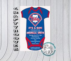 Baseball Phillies Baby Shower It's a Boy Party Invitations U-Print Custom Super Onesie by CraftyHooves on Etsy