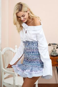 e3d5af56a39 Available In Blue Ruffles Striped Details Elastic Cotton