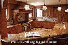 Kitchen & Island View | Custom Timber Home | PrecisionCraft Timber Homes by PrecisionCraft Log Homes & Timber Frame, via Flickr