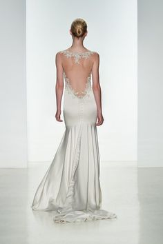 Kenneth Pool Monica- K452-Stretch charmeuse fit to flare gown with sheer back and crystal hand-beading applique.