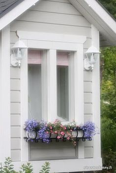 Eyes and Lashes Outside Playhouse, Build A Playhouse, Playhouse Ideas, White Cottage, Rose Cottage, Wendy House, Romantic Homes, Window Boxes, Cottage Living