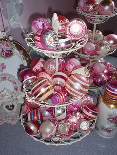 All sizes | Vintage pink shiny brite ornaments, via Flickr.