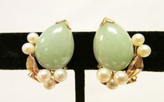 Vintage Estate Larger Ming's of Honolulu Thick Jade and Pearl Earrings by Alohamemorabilia