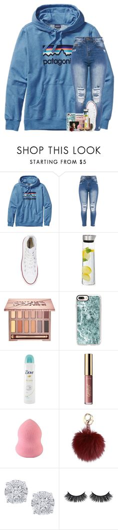 """""""take your shot it might be scary"""" by theblonde07 ❤ liked on Polyvore featuring Patagonia, Converse, blomus, Urban Decay, Casetify, Dove, tarte, Effy Jewelry and Battington"""
