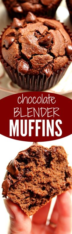 Chocolate Peanut Butter Blender Muffins recipe - flourless muffins banana, peanut butter and plenty of chocolate!  No white flour, only 3 tablespoons of brown sugar - these muffins disappear in no time!
