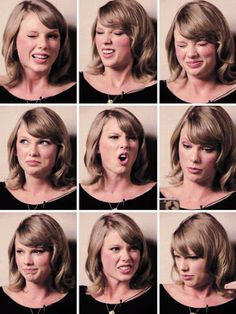 The many funny faces of Taylor Swift, from her Grammy Pro Making of 1989 listening session