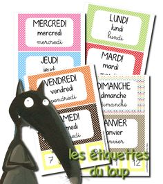 La maternelle de Laurène: Les étiquettes dates French Teacher, French Class, Teaching French, Kindergarten Calendar, Petite Section, Help Teaching, Teacher Hacks, Home Schooling, School Organization