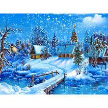 Loisirs et diamant mosaïque De Noël 5d bricolage diamant peinture point de croix diamant broderie paysage paysage d'hiver motif 48(China (Mainland))