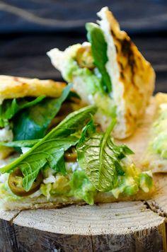 Spinach and avocado sandwich. A very healthy yet tasty sandwich with avocado, spinach, feta and jalapeno | giverecipe.com |