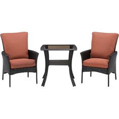 Hanover - Strathmere Allure Bistro Set (3-Piece) - Dark Brown / Orange (Dark Brown/Orange), STRALBS3PCSQ-RST