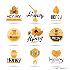Creative honey logos desing vector 01 free vector download