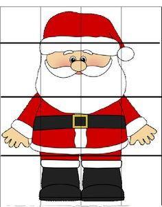 Use this to make a center activity. Glue this entire picture on on bristle board, laminate. Glue second picture on bristle board, cut each piece out, laminate the pieces. Use the pieces to match on the entire picture as a puzzle to make Santa. Christmas Math, Christmas Activities For Kids, Preschool Christmas, Christmas Printables, Winter Christmas, All Things Christmas, Toddler Activities, Christmas Puzzle, Christmas Pictures