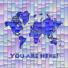 World Map Glasa Square with 'You Are Here' text in Blue And Purple by elevencorners. World map wall print decor. #elevencorners #mapglasa