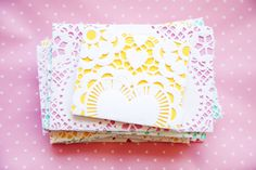 Envelopes out of paper doilies. This would be good for Valentines Day notes.
