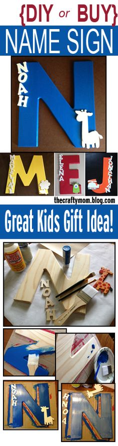 DIY or buy one on Etsy. Letter name sign - great for kids. The DIY information can be found at the link as well as purchasing information. It makes a great gift for a baby shower, or kids birthday. They are fairly easy to make. Who doesn't love their name on something? :-) www.shescraftyllc.com