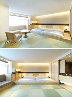 BEDROOM DESIGN IDEA - Place Your Bed On A Raised Platform // Raising the bed onto its own platform designates the sleeping…