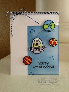 Pink Ink Originals: You're My Universe {Paper Smooches} Creative Birthday Cards, Handmade Birthday Cards, Diy Birthday, Creative Cards, Handmade Cards, Sister Birthday, Cards For Boyfriend, Diy Gifts For Boyfriend, Dear Boyfriend